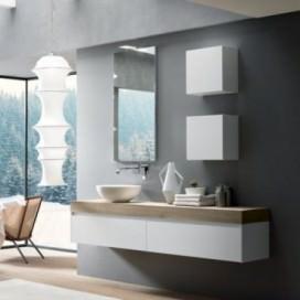 Mobile bagno con Top scatolato tinta wafer | Lavabo tutto fuori bianco e base con sistema apertura gola superiore bianco