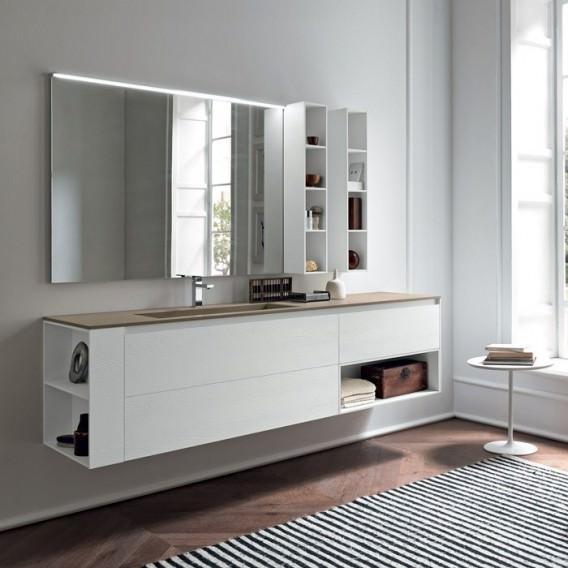 Mobile Base Rovere Bianco con sistema apertura | Top con lavabo ...