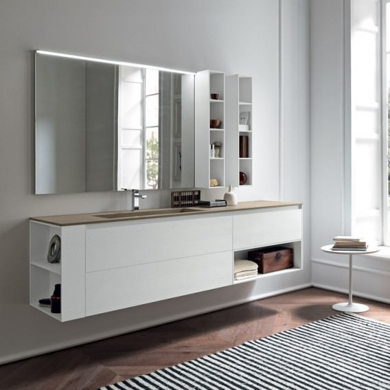 white wooden bathroom furniture. White Wooden Oak Bathroom Cabinet With Opening System | Top In Resin Cement Mialite Corda Furniture C