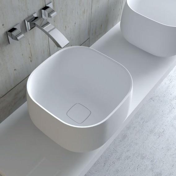 Lavabo da appoggio quadrato in Solidtech | Disponibile in 3 colori | collezione Lovely Bath