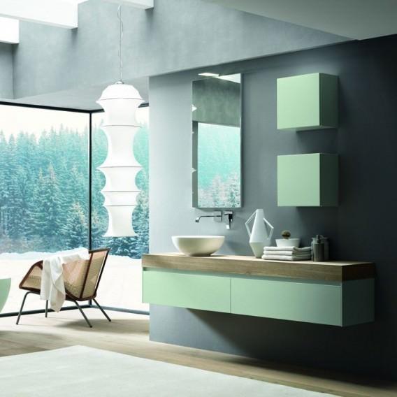 Mobile Base Verde con sistema apertura | Top Rovere con Lavabo Bianco