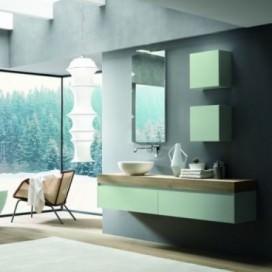 Mobile bagno laccato verde opaco con sistema apertura superiore | Top scatolato rovere wafer con lavabo tutto fuori bianco