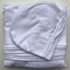 Accappatoio unisex con cappuccio, due tasche e cintura, in morbida spugna Made in Italy. Disponibile in 4 colori