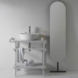 Matt white wooden under basin structure | Eden collection