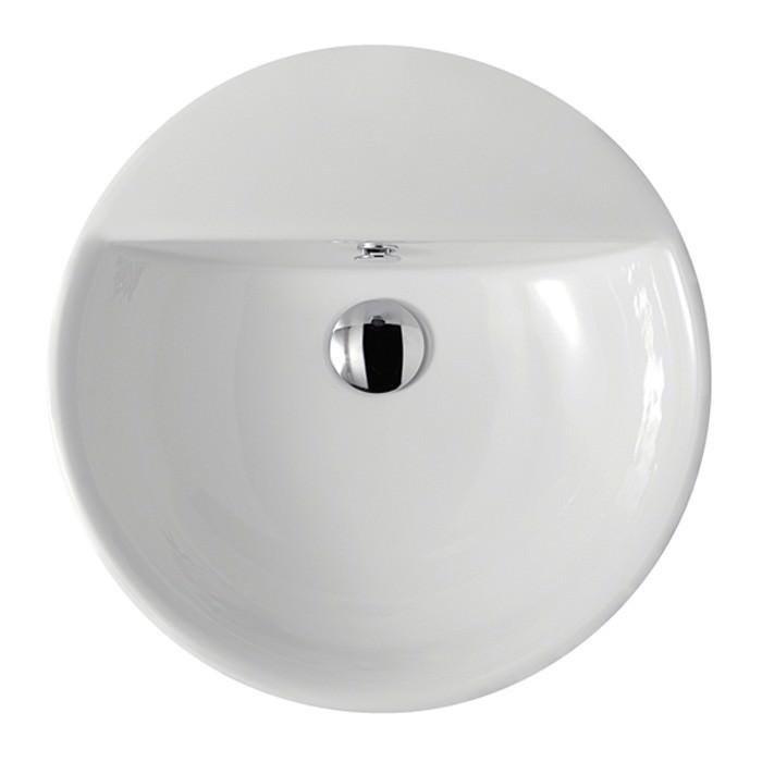 Lavabo tondo in ceramica 48 0x14 0 collezione eden for Altezza lavabo appoggio