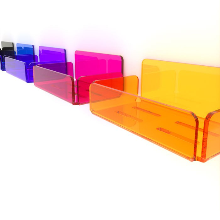 Mensole Plexiglass Su Misura.Shelf With Sides In Plexiglass In Different Colors Model To Paste