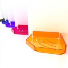 Mensola angolare con sponde in Plexiglass | Disponibile con o senza asole ed in 7 colori diversi