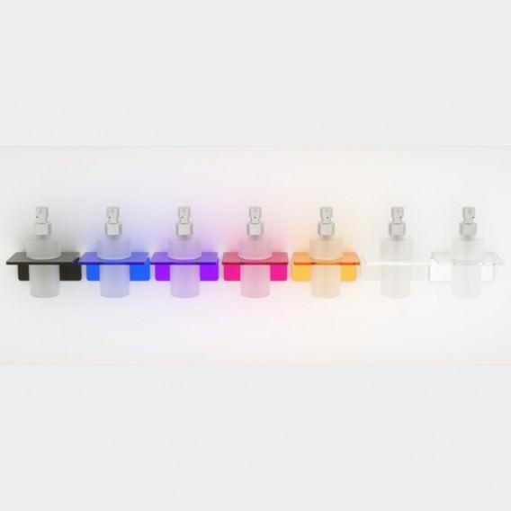 Porta sapone liquido in Plexiglass e bicchiere in vetro satinato | 7 colori disponibili