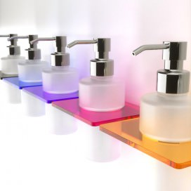 Liquid soap dispenser with a glass | Plexiglass and frosted glass | 7 colors available
