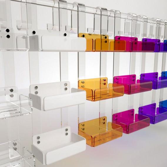 Mensola tripla box doccia in Plexiglass colorato   7 colori disponibili