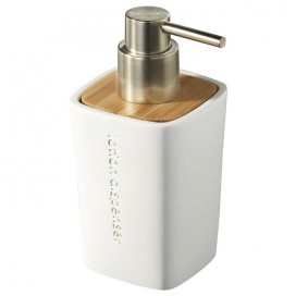 Liquid soap dispenser in white resin with bamboo inserts