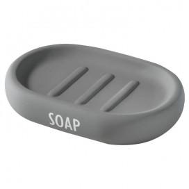 Ceramic soap holder with a grey rubber lining