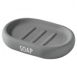 Porta sapone in ceramica con rivestimento grigio effetto rubber