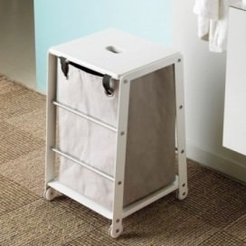 Stool with storage in matt white with chromed bars