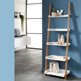Ladder with 5 shelves in bamboo wood and matt white MDF