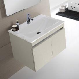 Mobile bagno composto da: Base porta lavabo sospesa e Top in stonelight bianco lucido con lavabo integrato e troppopieno