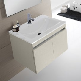 Mobile bagno composto da: Base con ante porta lavabo sospesa e Top bianco lucido con lavabo integrato e troppopieno