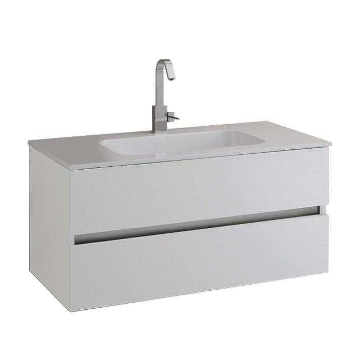 Mobile bagno con base con 2 cassetti e top bianco con lavabo for Lavabo con mobile