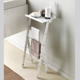 Floor towel rack in matt white with chromed bars