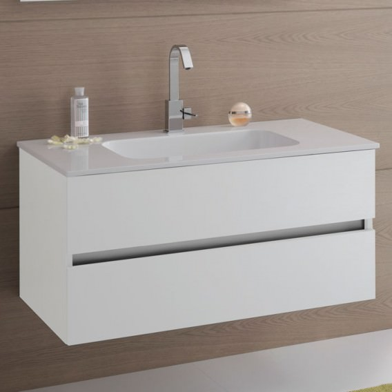 Bathroom cabinet with base with 2 drawers and white top with sink
