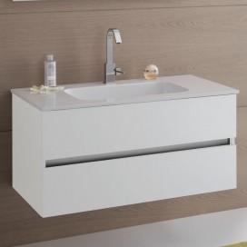 Mobile bagno composto da: Base con 2 cassetti con maniglia a gola e Top bianco lucido con lavabo integrato