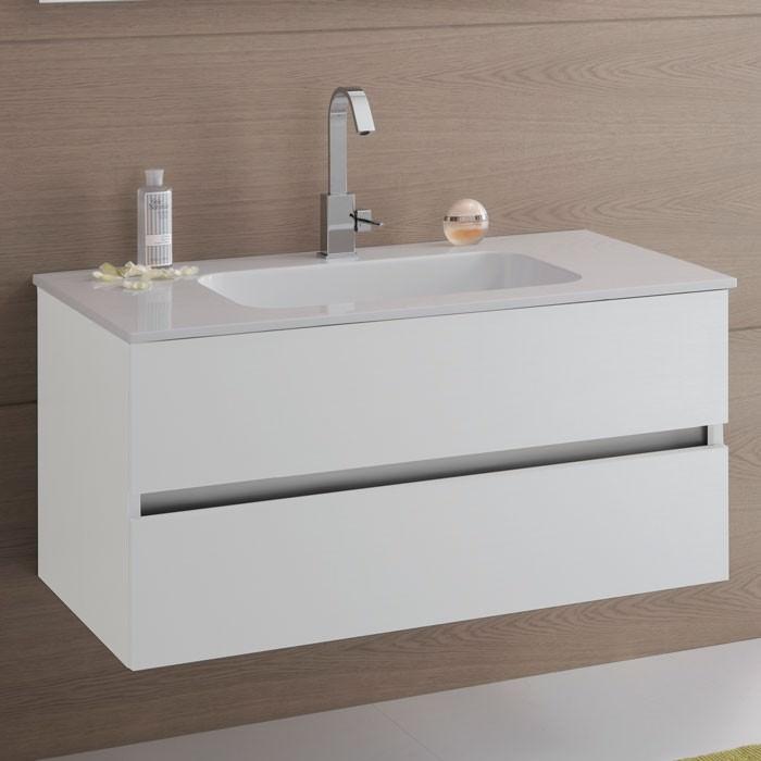 Mobile bagno con base con 2 cassetti e top bianco con lavabo - Mobile cassetti bagno ...
