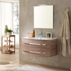 Mobile bagno composto da: Base sospesa con ante arcate rovere sabbiato | Lavabo integrato in ceramica bianca
