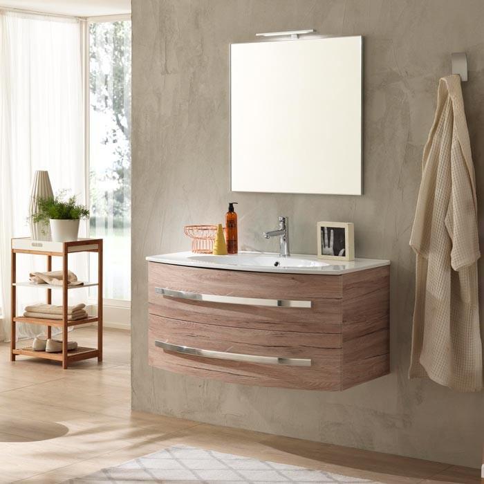 Base sospesa con ante arcate in rovere e lavabo in ceramica bianca - Mobile bagno rovere ...
