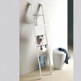 Ladder with a matt white shelf with chromed steps