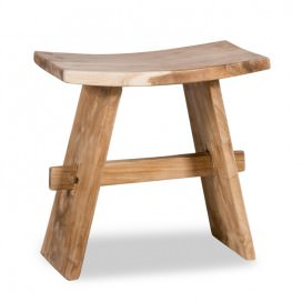 Stool made in solid untreated natural teak