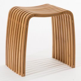 Stool in lacquered bamboo slats