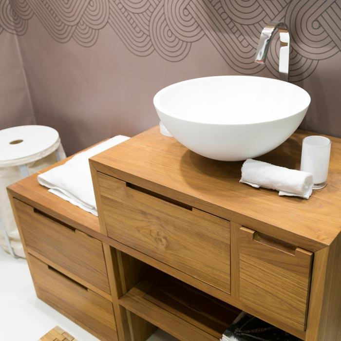 Consolle in teak con 2 cassetti un ripiano una ribaltina ed un cassetto lungo - Mobili bagno teak ...