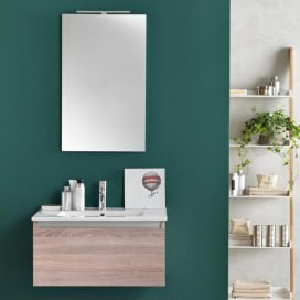 Bathroom wood-colored cabinet with integrated washbasin | Tap excluded | Ibiza Collection