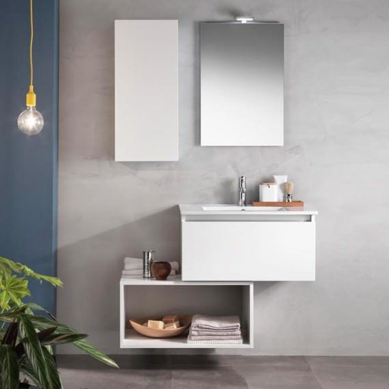 Composizione mobile bagno pensile specchio lampada for Composizione piastrelle bagno