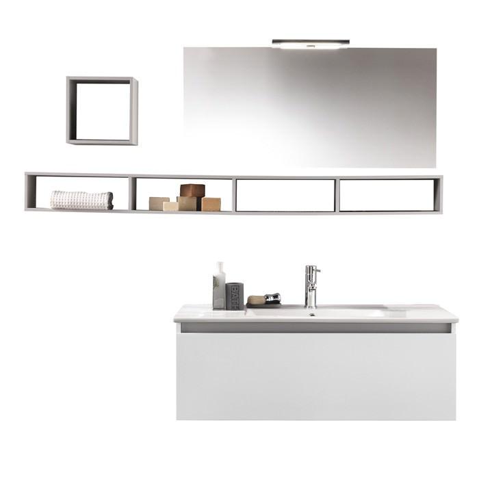 Composizione mobile bagno  mensole  specchio  lampada