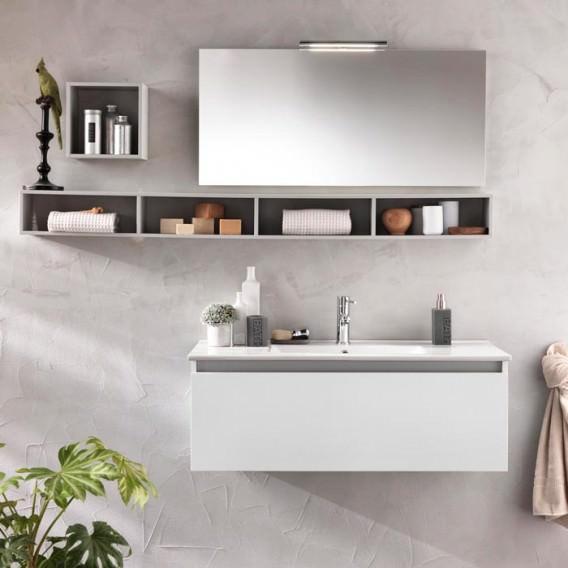 Composizione mobile bagno mensole specchio lampada for Mensole x bagno