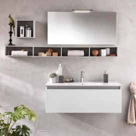 Bathroom cabinet with shelves, mirror and lamp