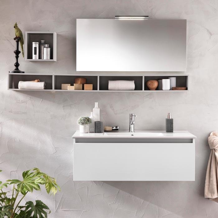 Mobile Bagno A Specchio.Composizione Mobile Bagno Mensole Specchio Lampada